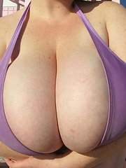 Big titted Sapphires 36HH in tight bikini