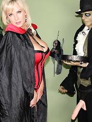 Hot blonde has a little fun shooting a Halloween video