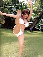 Harada Orei posing in white bikini her natural big breasts