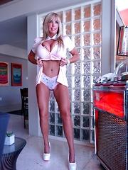 Stunning Blonde MILF Strips Down To Panties