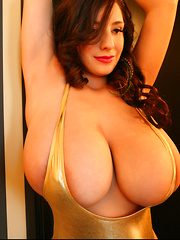 Hi guys and happy Monday! Me and my huge tits are absolutely busting out once again (what else is new, right?) and this time it's for Part 2 of my Gold Body shoot which is probably the outfit that makes my boobs look the hugest. xoxoxo -- September
