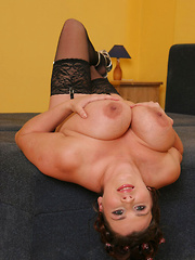 Hot MILF with huge udders take black cock in the ass!