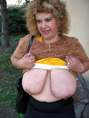 Busty mature mothers get wild outdoors