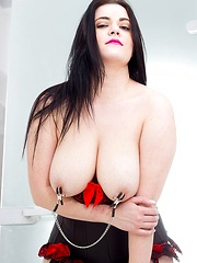 Big tits nipple clamps