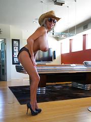 Wifey Plays Pool Topless Wearing Cowboy Hat