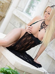 xoGisele wears a sexy lace dress that is very revealing while she strips everything off in a strip tease
