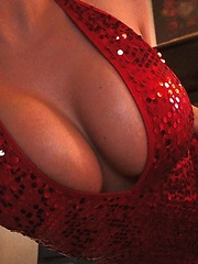 xoGisele wears a tight red body suit and really knows how to move her rocking body and strip it all off